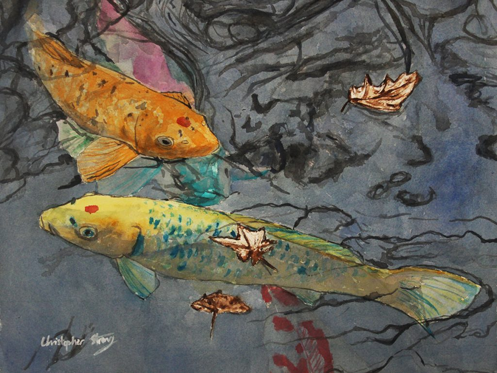 Colourful fish in a colourful pond - Watercolour on paper - 46cm x 36cm